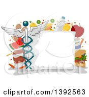 Poster, Art Print Of Blank Medical Chart With Health Care Items And Icons