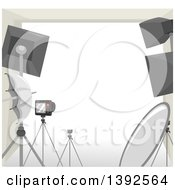 Clipart Of A Frame With Photography Equipment Royalty Free Vector Illustration