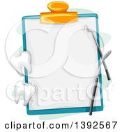 Clipart Of A Dental Chart On A Clipboard With Tools And Teeth Royalty Free Vector Illustration