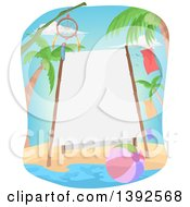 Clipart Of A Bamboo Framed Sign On A Beach With A Dream Catcher And Ball Royalty Free Vector Illustration