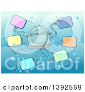 Clipart Of A Tentacled Submarine Holding Blank Signs Royalty Free Vector Illustration by BNP Design Studio