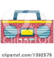 Clipart Of A Flat Design Boom Box Radio Royalty Free Vector Illustration