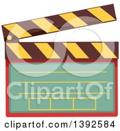 Clipart Of A Flat Design Clapper Board Royalty Free Vector Illustration