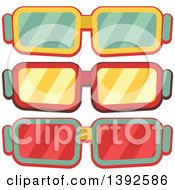 Clipart Of Flat Design Movie Glasses Royalty Free Vector Illustration by BNP Design Studio