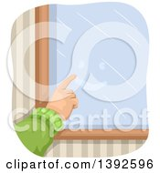 Clipart Of A Hand Drawing A Happy Face On A Foggy Window Royalty Free Vector Illustration by BNP Design Studio