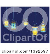 Clipart Of Lit Lanterns Hanging Ove Ra Night Sky Royalty Free Vector Illustration