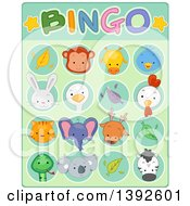 Clipart Of A Cute Animal Bingo Game Card Royalty Free Vector Illustration by BNP Design Studio
