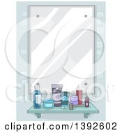 Clipart Of A Mirror With A Shelf Of Mens Grooming Products Royalty Free Vector Illustration by BNP Design Studio