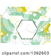 Clipart Of A Green And Yellow Abstract Geometric Hexagon Background Royalty Free Vector Illustration by BNP Design Studio