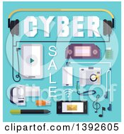 Clipart Of A Flat Design Cyber Sale Poster Royalty Free Vector Illustration