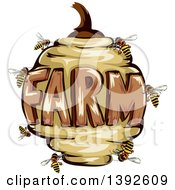Bee Hive With The Word Farm
