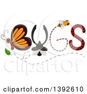 Clipart Of Insects Forming The Word BUGS Royalty Free Vector Illustration by BNP Design Studio