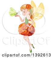 Clipart Of A Blond White Garden Fairy Girl In A Flower Dress Holding A Butterfly Royalty Free Vector Illustration