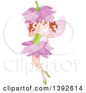 Clipart Of A Red Haired Caucasian Fairy Girl With A Flower On Her Head Royalty Free Vector Illustration