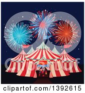 Clipart Of A Big Top Circus Tent With Fireworks Royalty Free Vector Illustration
