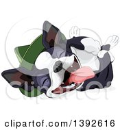Clipart Of A Cute Boston Terrier Or French Bulldog Wearing A Hat And Laying On His Back Royalty Free Vector Illustration