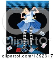 Clipart Of A Giant Alice In Wonderland Pushing Up Against A Ceiling With Cards A Key And Rose At Her Feet Royalty Free Vector Illustration by Pushkin