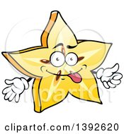 Clipart Of A Cartoon Carambola Starfruit Character Royalty Free Vector Illustration