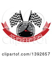 Clipart Of A Motorsports Design Of A Speedometer And Checkered Racing Flags Over A Red Banner With Text Royalty Free Vector Illustration by Vector Tradition SM