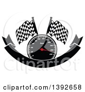 Clipart Of A Motorsports Design Of A Speedometer And Checkered Racing Flags Over A Blank Banner Royalty Free Vector Illustration