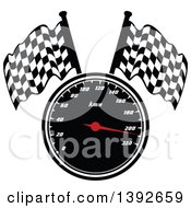 Clipart Of A Motorsports Design Of A Speedometer And Checkered Racing Flags Royalty Free Vector Illustration