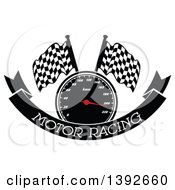 Clipart Of A Motorsports Design Of A Speedometer And Checkered Racing Flags Over A Banner With Text Royalty Free Vector Illustration by Vector Tradition SM