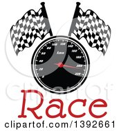 Clipart Of A Motorsports Design Of A Speedometer And Checkered Racing Flags Over Text Royalty Free Vector Illustration by Vector Tradition SM