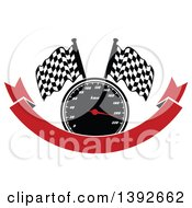 Clipart Of A Motorsports Design Of A Speedometer And Checkered Racing Flags Over A Red Banner Royalty Free Vector Illustration by Vector Tradition SM