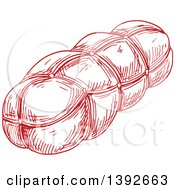 Clipart Of A Red Sketched Sausage Royalty Free Vector Illustration