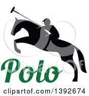 Clipart Of A Silhouetted Horseback Man On A Leaping Polo Horse Over Text Royalty Free Vector Illustration by Vector Tradition SM