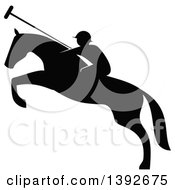 Clipart Of A Black And White Silhouetted Horseback Man On A Leaping Polo Horse Royalty Free Vector Illustration by Vector Tradition SM