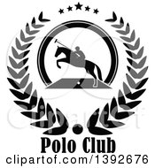 Clipart Of A Black And White Silhouetted Horseback Man On A Leaping Polo Horse In A Wreath Over Text Royalty Free Vector Illustration by Vector Tradition SM