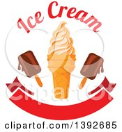 Clipart Of An Ice Cream Cone With Popsicles And Text Over A Blank Banner Royalty Free Vector Illustration by Vector Tradition SM