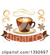 Clipart Of A Coffee Latte Over A Banner Royalty Free Vector Illustration