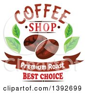 Clipart Of Coffee Beans And Leaves With Text Royalty Free Vector Illustration