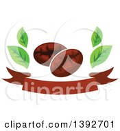 Clipart Of Coffee Beans And Leaves Over A Banner Royalty Free Vector Illustration