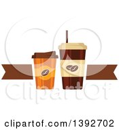 Clipart Of Take Away Coffee Cups With A Brown Ribbon Royalty Free Vector Illustration