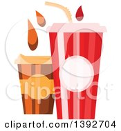 Clipart Of A Fountain Soda And To Go Coffee With Droplets Royalty Free Vector Illustration by Vector Tradition SM