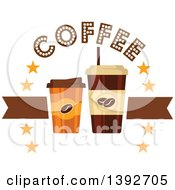 Clipart Of Take Away Coffee Cups With Text Royalty Free Vector Illustration