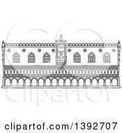 Clipart Of A Gray Sketched Travel Landmark Of Doges Palace Royalty Free Vector Illustration