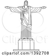Clipart Of A Gray Sketched Travel Landmark Of Christ The Redeemer Royalty Free Vector Illustration