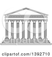 Clipart Of A Gray Sketched Travel Landmark Of The Parthenon Royalty Free Vector Illustration