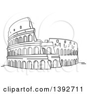 Clipart Of A Gray Sketched Travel Landmark Of The Roman Coliseum Royalty Free Vector Illustration