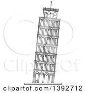 Clipart Of A Gray Sketched Travel Landmark Of Royalty Free Vector Illustration