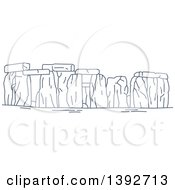 Clipart Of A Navy Blue Line Drawing Of A Travel Landmark Stonehenge Royalty Free Vector Illustration