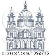 Clipart Of A Navy Blue Line Drawing Of A Travel Landmark St Paul Cathedral Royalty Free Vector Illustration