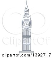 Clipart Of A Navy Blue Line Drawing Of A Travel Landmark Royalty Free Vector Illustration