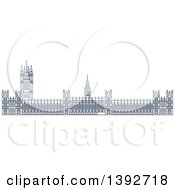 Clipart Of A Navy Blue Line Drawing Of A Travel Landmark Palace Of Westminster Royalty Free Vector Illustration