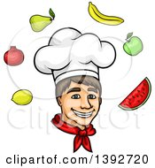 Cartoon White Male Chef Surrounded By Produce