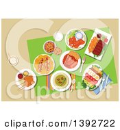 Clipart Of A Table Set With American Food On Beige Royalty Free Vector Illustration by Vector Tradition SM